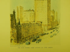 The Ritz Tower, Park Avenue & 57th Street, New York, NY, 1929, Original Plan.
