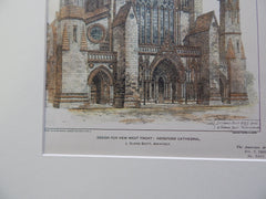 Hereford Cathedral, Hereford UK 1903. Original Plan. J. Oldrid Scott.