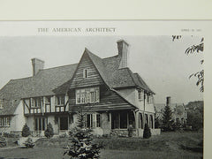 House of Mr. Chapin S. Pratt, Lawrence Park, Bronxville, NY, 1921, Lithograph.  Bates & How.