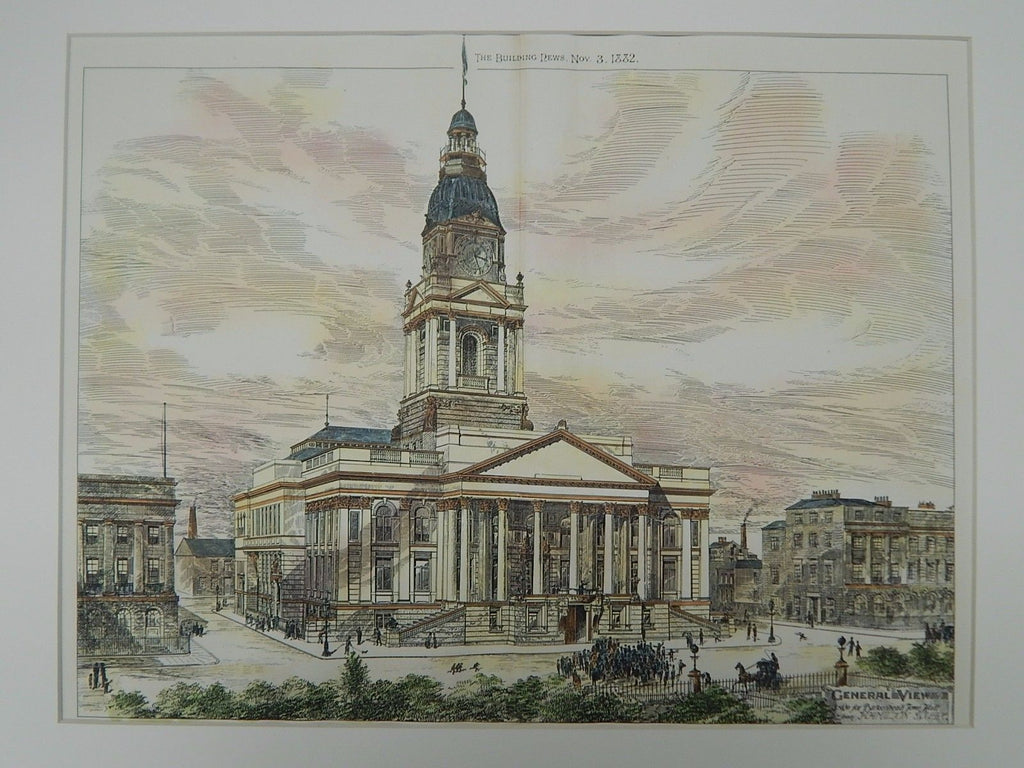 General View, Town Hall Design, Birkenhead, England, 1882, Original Plan