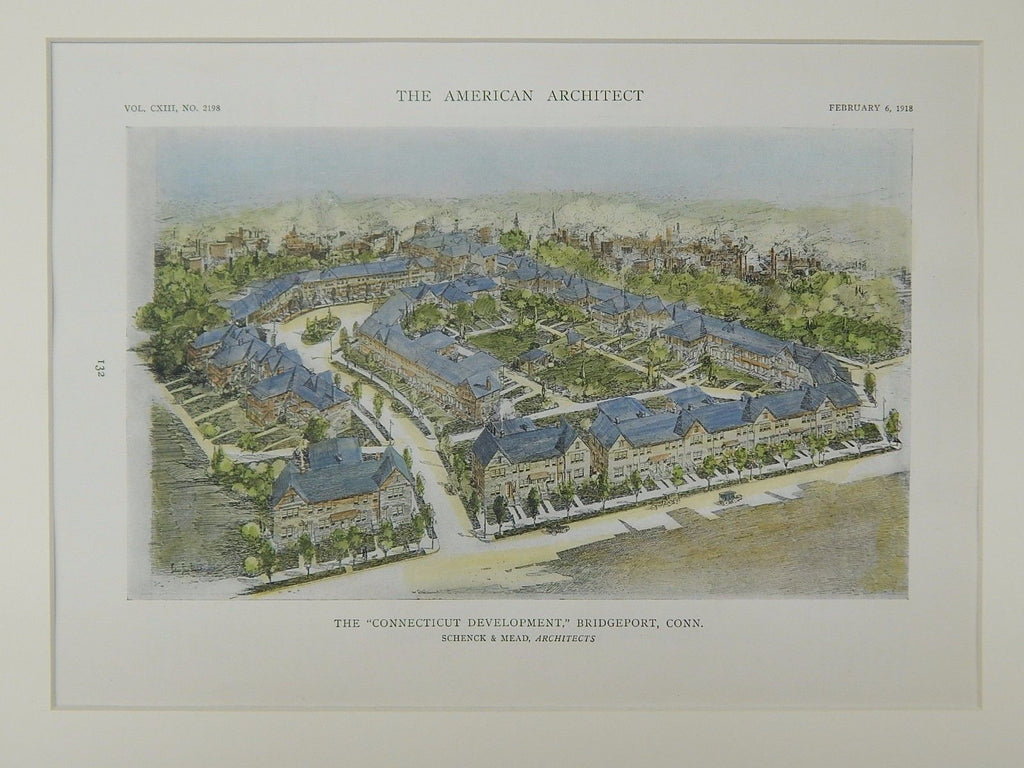 The Connecticut Development, Bridgeport, CT, 1918, Original Plan. Schenck & Mead.
