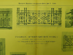 Examples of Wrought Iron Work by William R. Pitt, New York, NY, 1890, Orig. Plan. William R. Pitt.