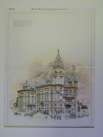 Accepted Design, Bexar County Courthouse, San Antonio, TX, 1894. Original Plan. James Riely Gordon