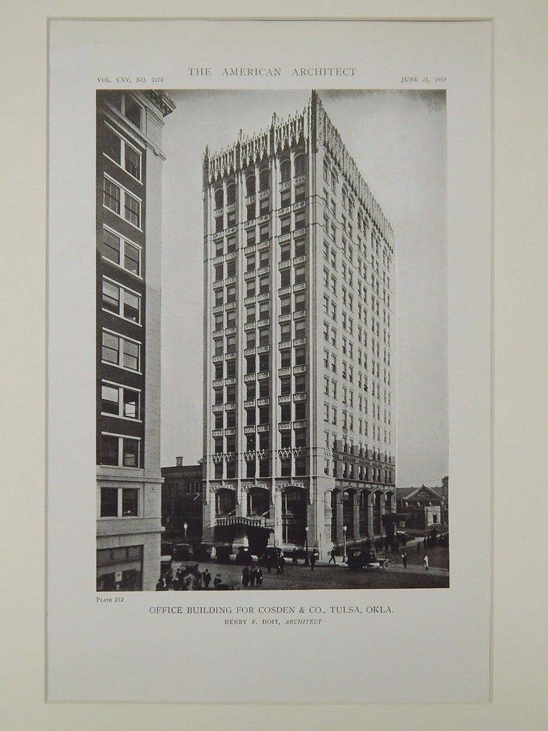 Office Building for Cosden & Co., Tulsa, OK, 1919, Lithograph. Henry F. Hoit.