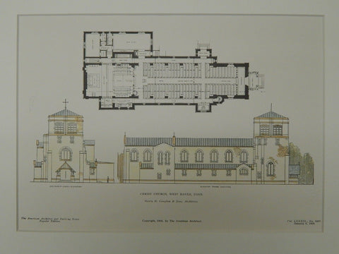 Elevations, Christ Church, West Haven, CT, 1906, Original Plan. Henry M. Congdon & Sons.