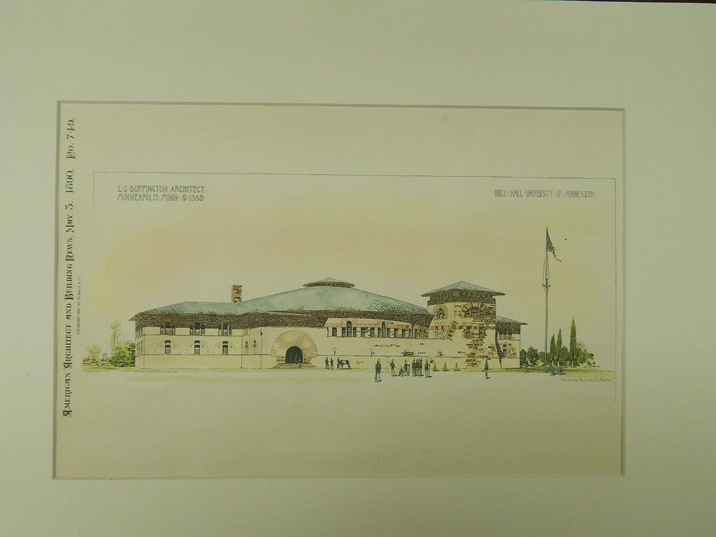 Drill Hall, University of Minnesota, Minneapolis, MN, 1890, Original Plan. L.S. Buffington.