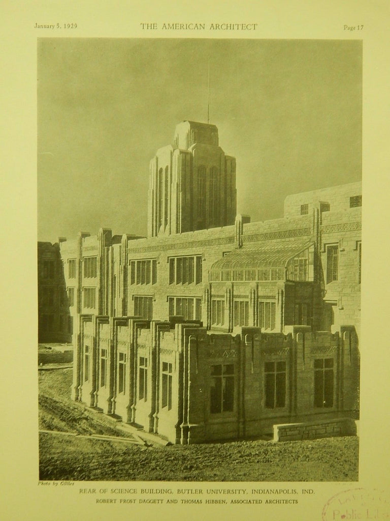 Rear of Science Building, Butler University, Indianapolis, IN, 1929, Lithograph. Daggett & Hibben.