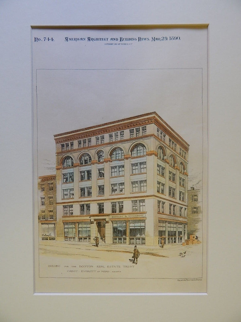 Building for the Boston Real Estate Trust, Boston, MA, 1890, Original Plan. Cabot, Everett, & Mead