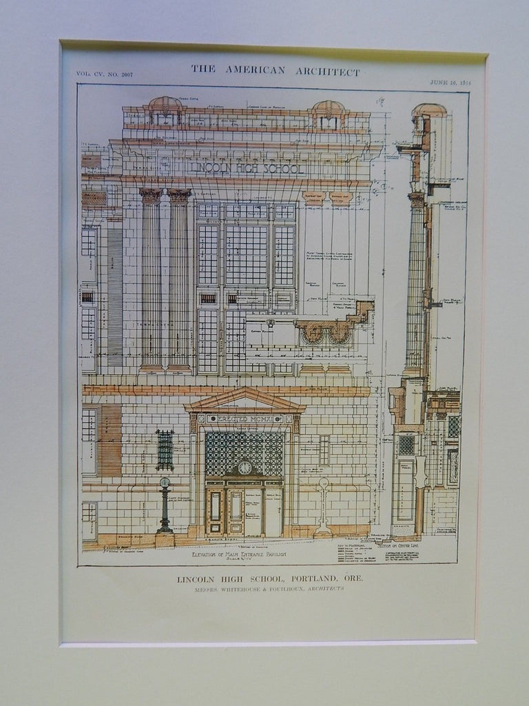 Entrance Elevation: Lincoln High School, Portland, OR, 1914, Original Plan. Whitehouse & Fouilhoux.
