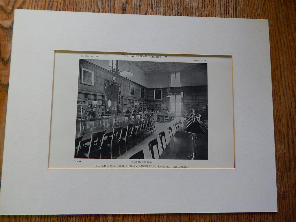 Converse Memorial Library, Main Room, Amherst College,Amherst, MA, Lithograph,1918. McKim, Mead & White.