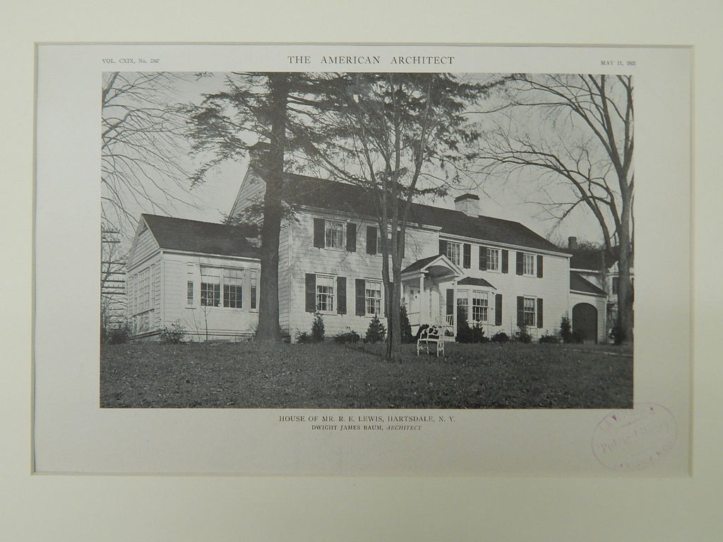 House of Mr. R. E. Lewis, Hartsdale, NY, 1921, Lithograph. Dwight James Baum.