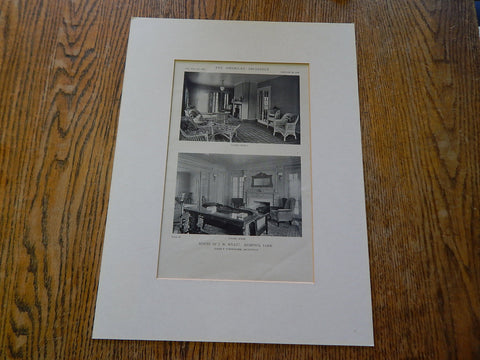 House of J.W.Wyatt, Living Room,  Memphis,TN, 1919, Lithograph. Jones & Furbringer.