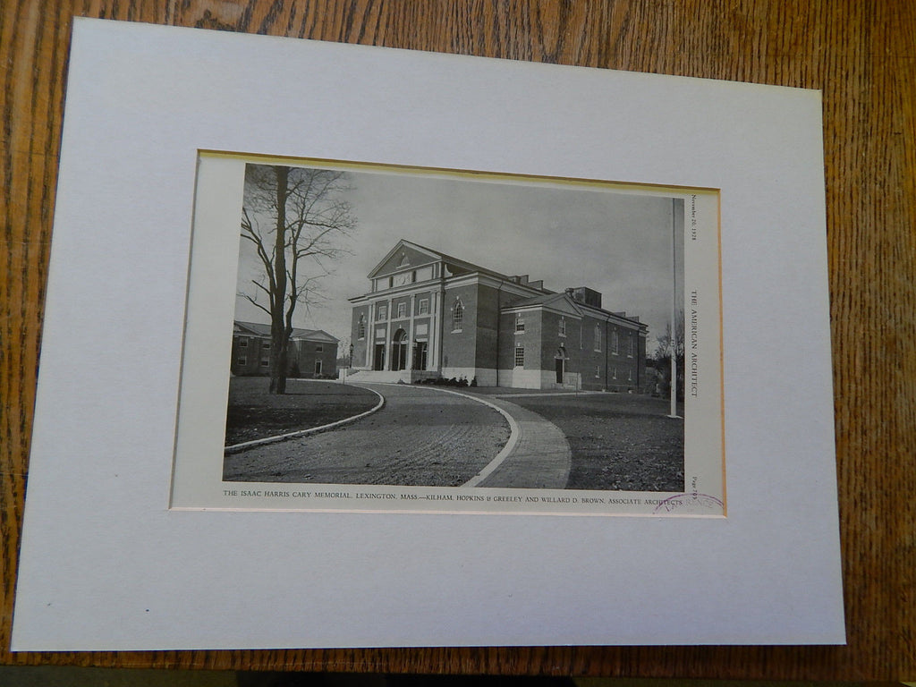 Branch Library Building,Wellesley Hills, MA, 1928,Lithograph. Shirer.