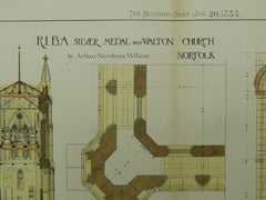 Details, West Walton Church, Norfolk, England, 1884,Original Plan. Arthur Needham Wilson.