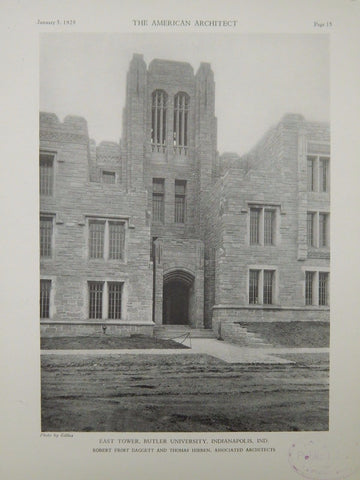 East Tower, Butler University, Indianapolis, IN, 1929, Lithograph. Daggett & Hibben.