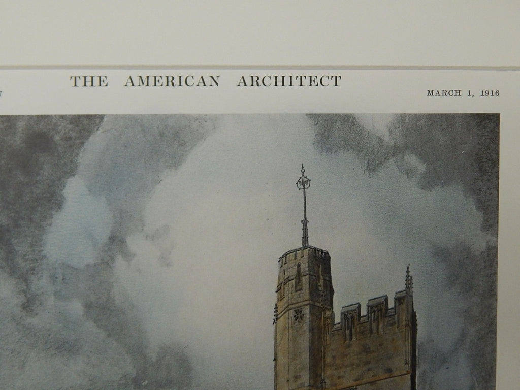 Tentative Sketch for Grace Church, Chicago, IL, 1916, Original Plan. Goodhue.