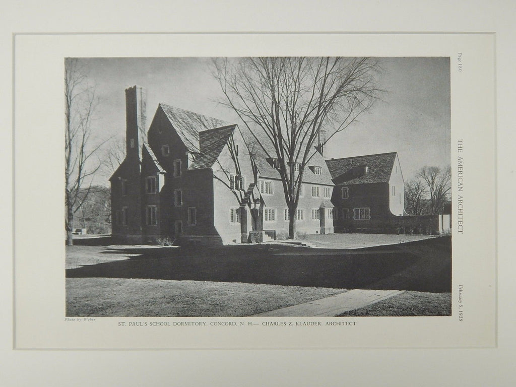 St. Paul's School Dormitory, Concord, NH, 1929, Lithograph. Charles Z. Klauder.