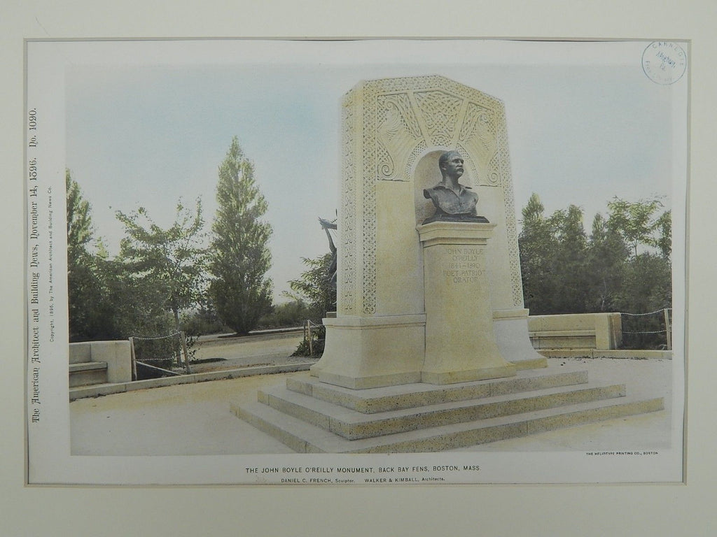 John Boyle O'Reilly Monument, Back Bay Fens, Boston, MA, 1896, Gelatine Print. Walker & Kimball.
