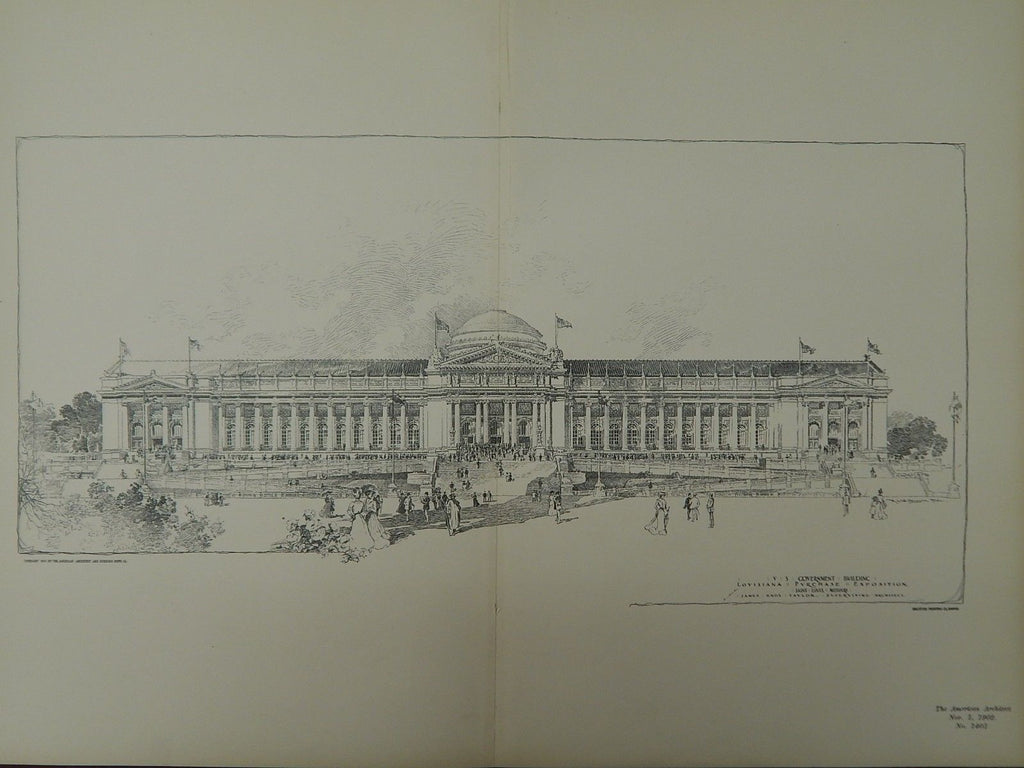 US Government Building, Louisiana Purchase Exposition, St. Louis, MO, 1902, Original Plan.  James Knox Taylor.