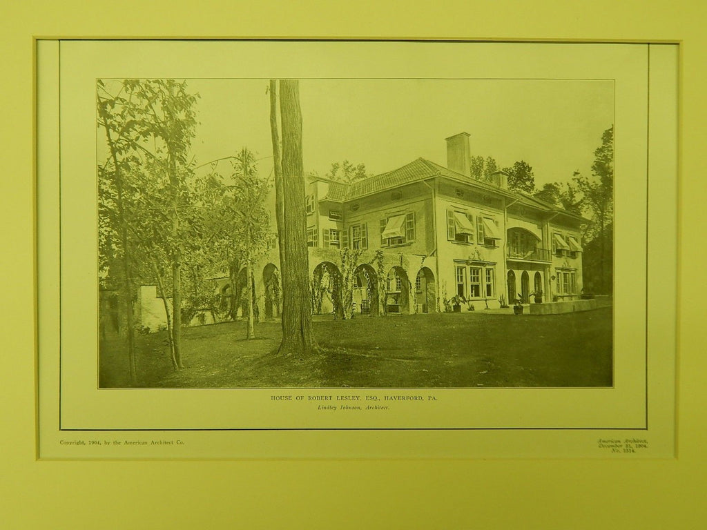House of Robert Lesley, Esq., Haverford, PA, 1904, Lithograph. Lindley Johnson.