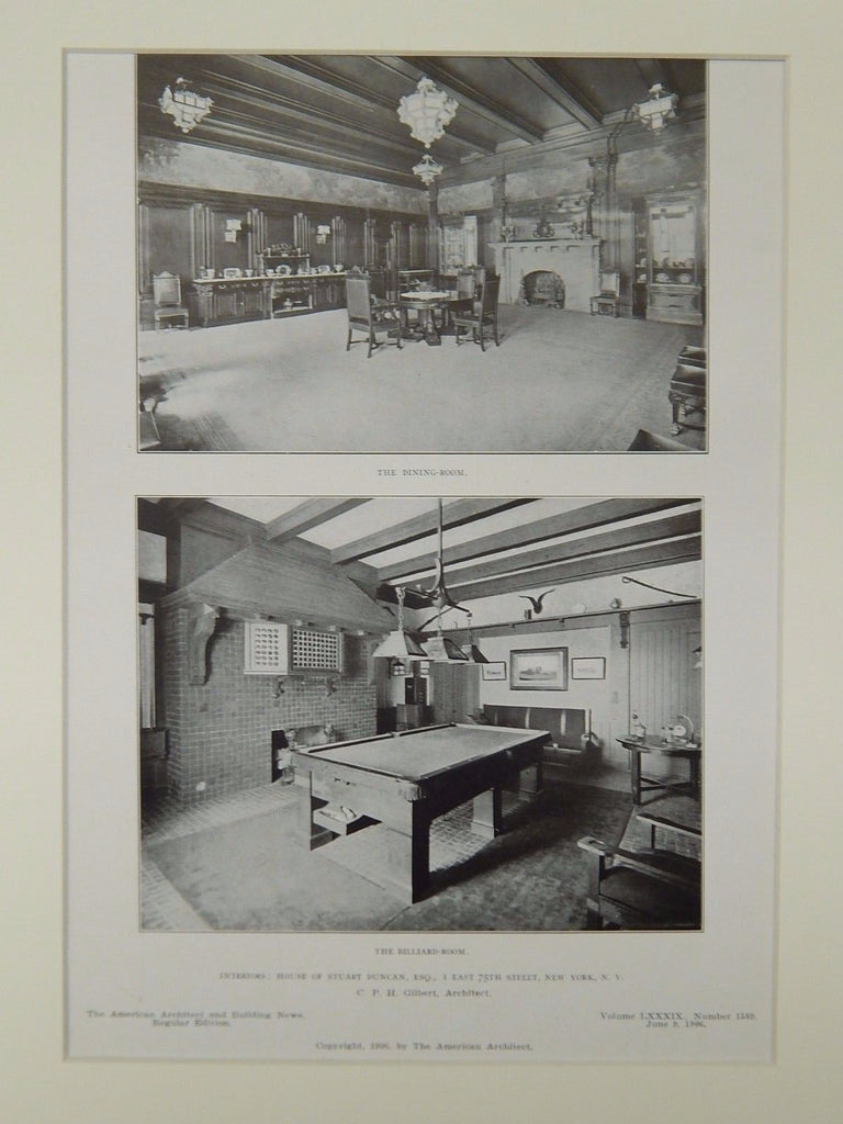 Dining & Billiard Rooms, House of Stuart Duncan, New York, NY, 1906, Lithograph. C.P.H. Gilbert.