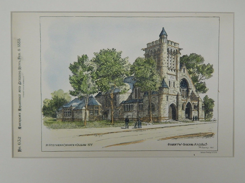 St. Stephen's Church, Olean, NY, 1888, Original Plan. Robert W. Gibson.