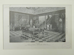 Living Hall, House of Robert J. Thorne, Lake Forest, IL, 1921, Lithograph. John W. Mckenzie.