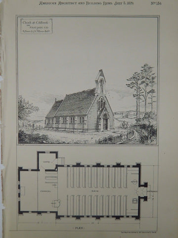 Church at Coldbrook near Saint John, New Brunswick, Canada, 1879, Original Plan. R. Brown & J.C. Allison