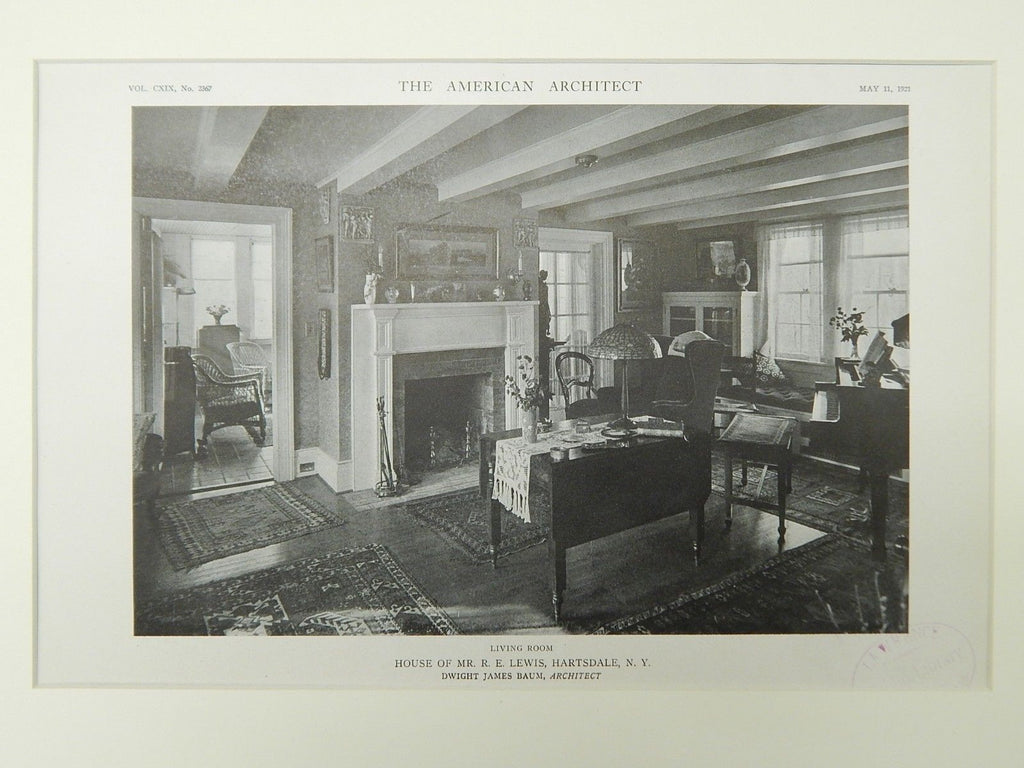 Living Room, House of Mr. R. E. Lewis, Hartsdale, NY, 1921, Lithograph. Dwight James Baum.