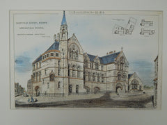 Springfield School, Sheffield School Board, Sheffield, UK, 1874, Original Plan. Innocent & Brown.