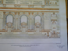 Entrances of New York Public Library, NY, 1901. Original Plan. Carrere&Hastings.