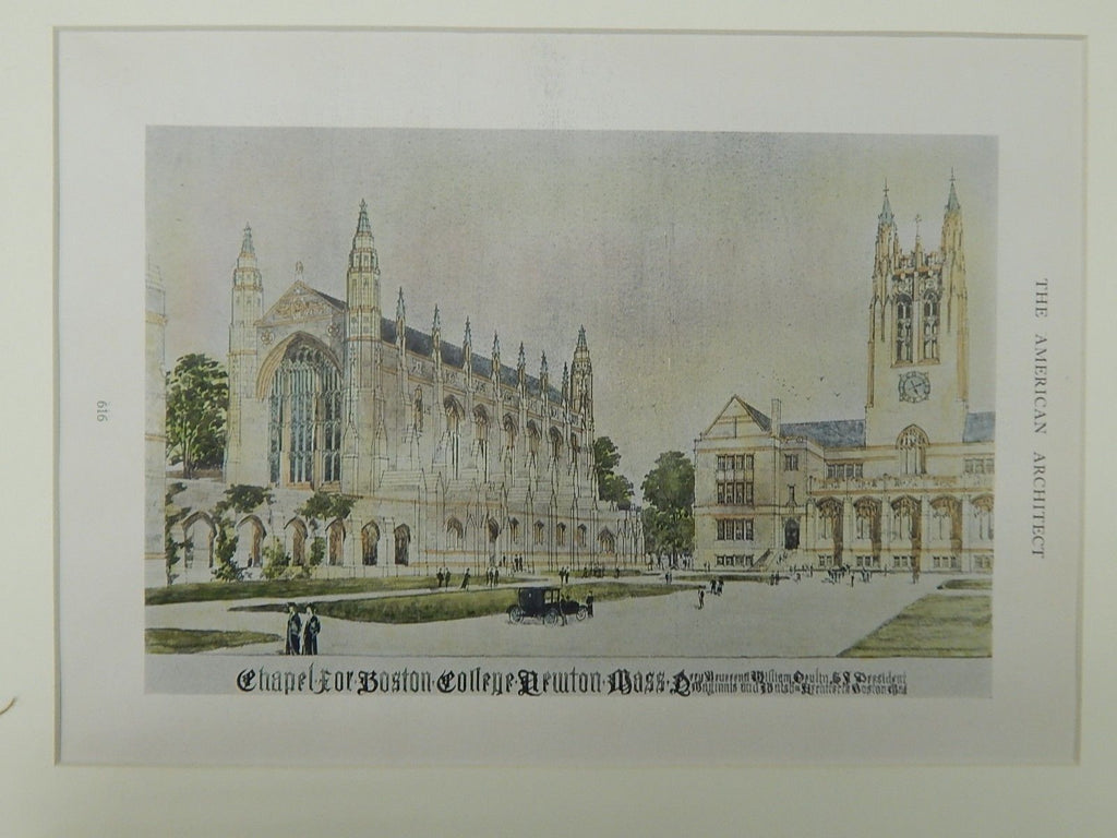 Chapel for Boston College, Newton, MA, Original Plan. 1921. Maginnis & Walsh.