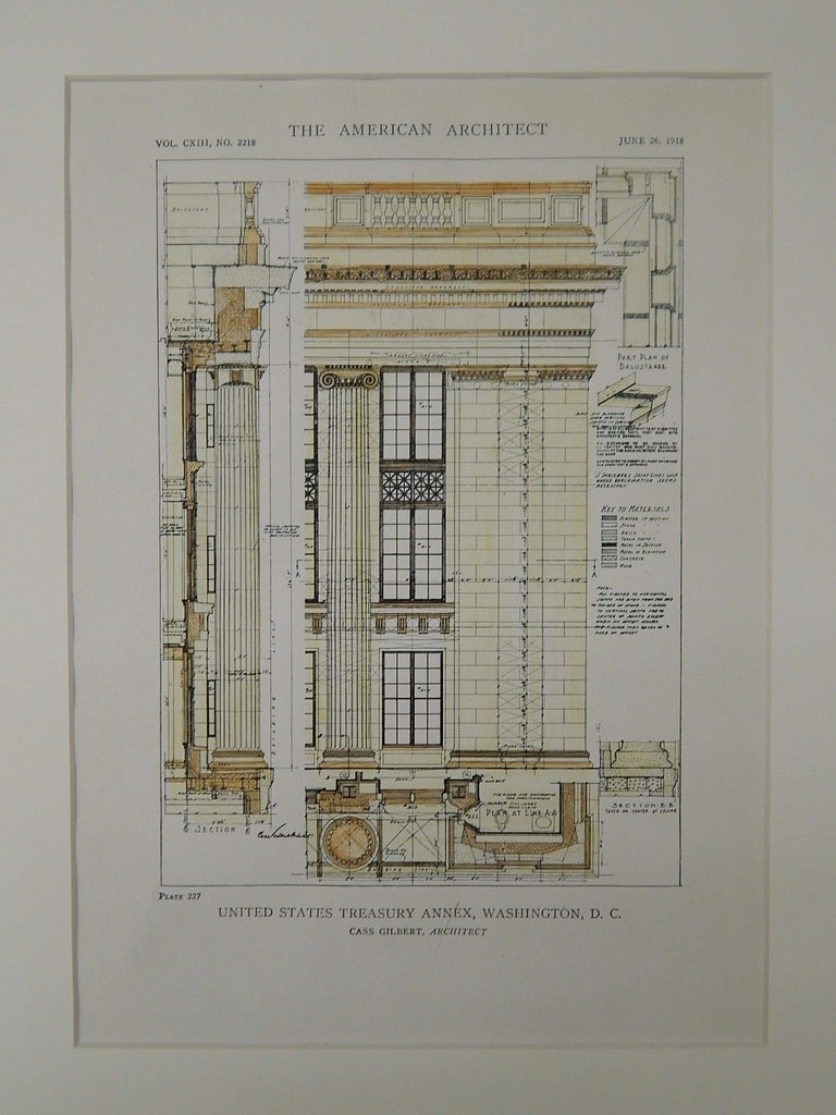 Section, United States Treasury Annex, Washington, DC, 1918. Cass Gilbert.