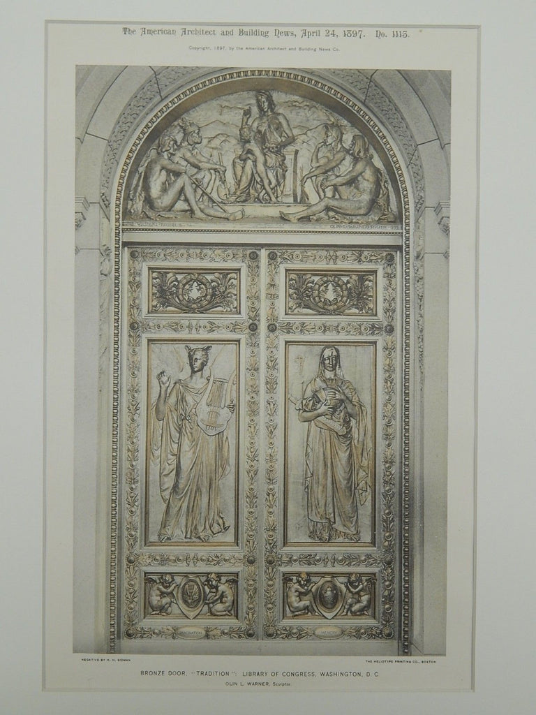 Tradition Bronze Door, Library of Congress, Washington, DC, 1897, Photograph.  Olin L. Warner.