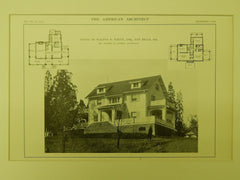 House of Walter D. White, Ten Hills, MD, 1914, Lithograph. Walter M. Gieske.