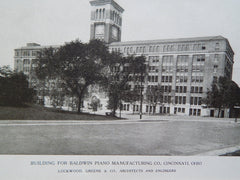 Building for Baldwin Piano Manufacturing Co., Cincinnati,OH, 1923, Lithograph. Lockwood, Greene&Co.