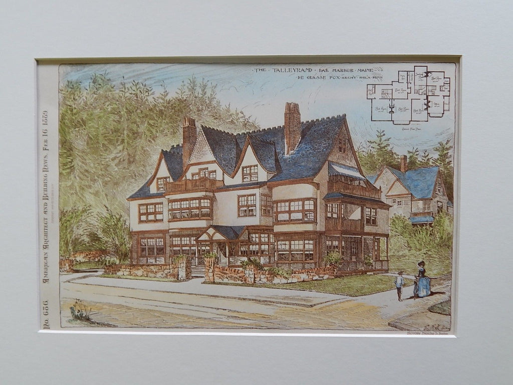 The Talleyrand, Bar Harbor, ME, 1889, Original Plan. De Grasse Fox.