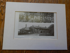 House of Mr.Theodore Conklin, Quoque, Long Island, NY, Lithograph,1908. Wilson Eyre.