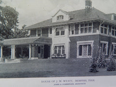House of J.W.Wyatt, Exterior, Memphis,TN, 1919, Lithograph. Jones & Furbringer.