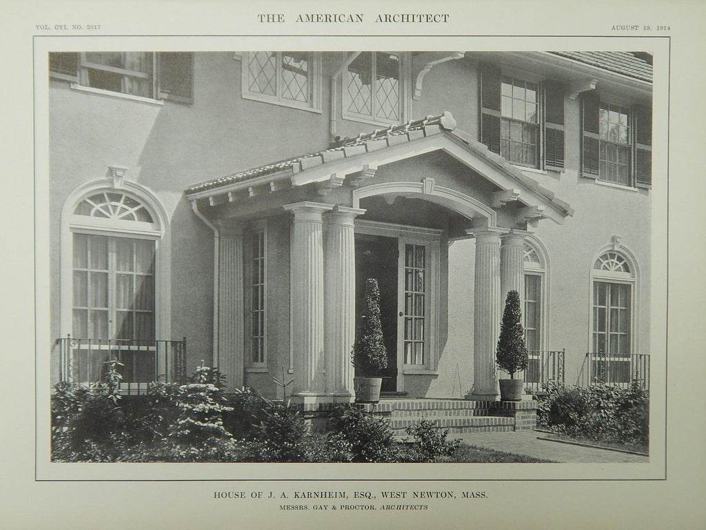 Entrance, House of J. A. Karnheim, Esq., West Newton, MA, 1914, Lithograph. Gay & Proctor.