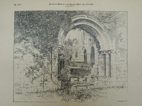Door at Dryburgh Abbey in Dryburgh, Scotland, 1892. W. Campbell. Original