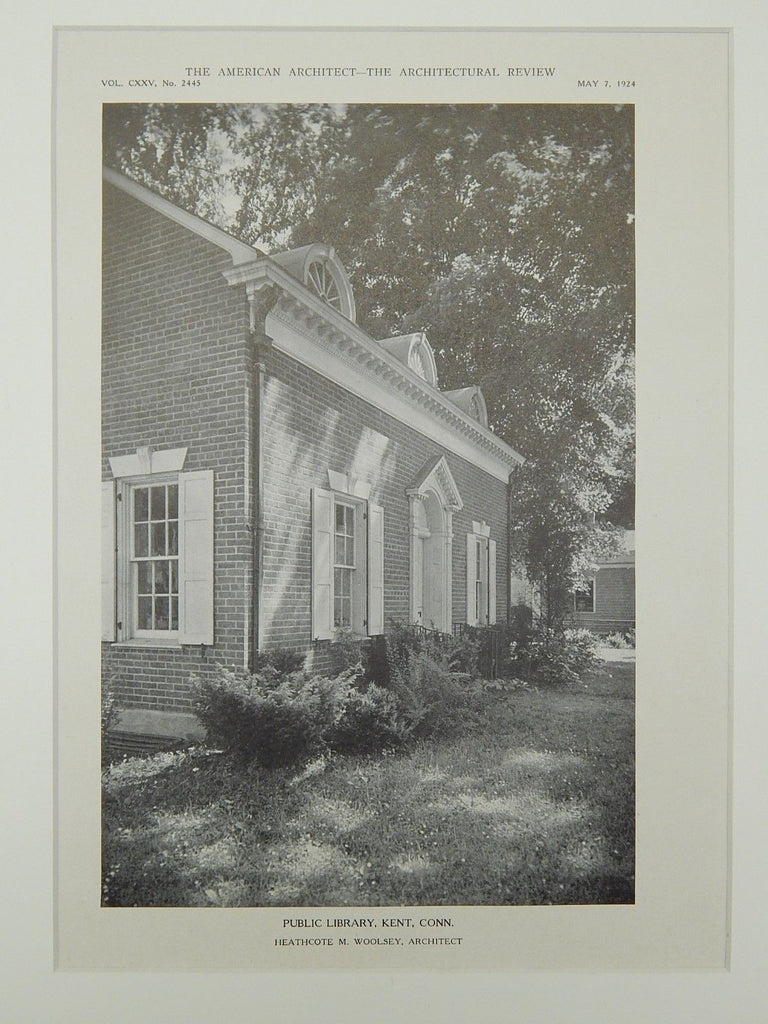 Public Library, Kent, CT, 1924, Lithograph.  Heathcote W. Woolsey.