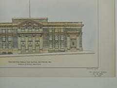 New Eastern Female High School, Baltimore, MD, 1904. Original Plan. Simonson & Pietsch