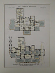Raymere, House of Mrs. Regina Rothschild, Deal, NJ, 1916, Original Plan. Albert S. Gottlieb.