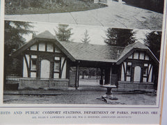 Public Comfort Stations,Dept of Parks, Portland,Oregon, Lithograph,1914. Lawrence & Holford.