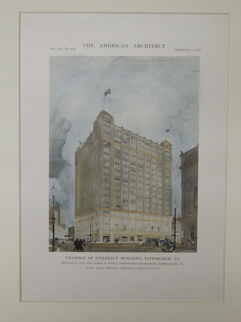 Chamber of Commerce Building, Pittsburgh, PA, 1916, Original Plan. Less & Piper.