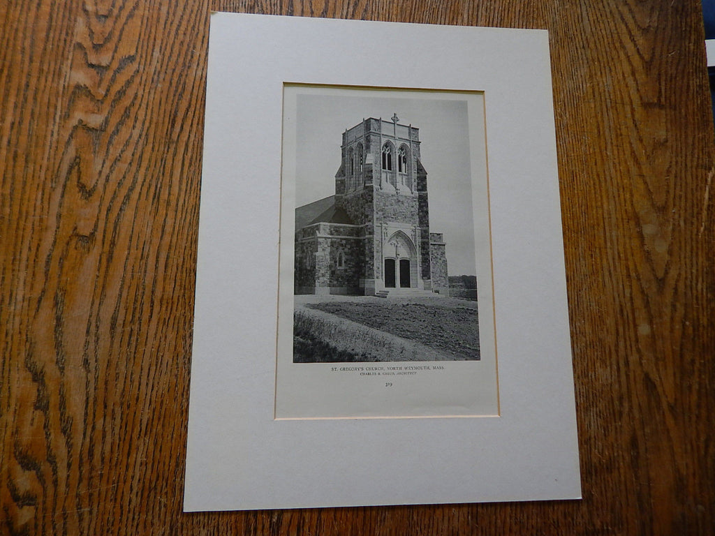 St. Gregory's Church, North Weymouth, MA, 1918, Lithograph. Postel & Fischer.