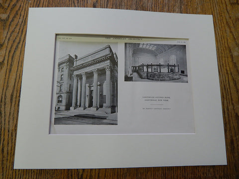 Amsterdam Savings Bank, Amsterdam, NY, 1915, Lithograph. Marcus T. Reynolds.