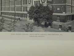 John Kinsey School, Sixty-Fifth Avenue, Philadelphia, PA, 1919, Lithograph. Horace Cook.