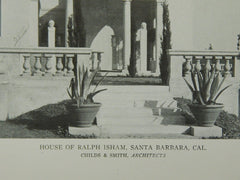 Courtyard & Entrance, House of Ralph Isham, Santa Barbara, CA, 1921, Lithograph. Childs & Smith.